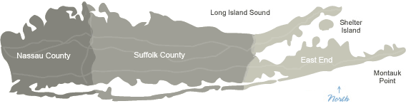 Long Island Map Showing Three Regions